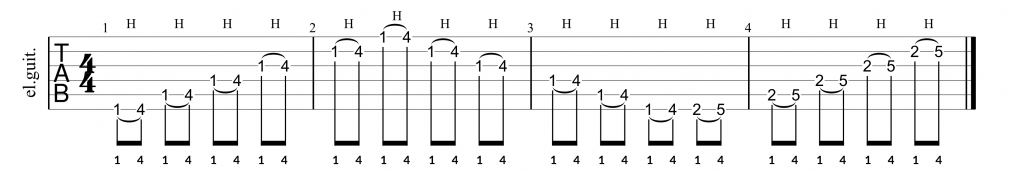 Hammer-on exercise across the fretboard for the pinky finger.