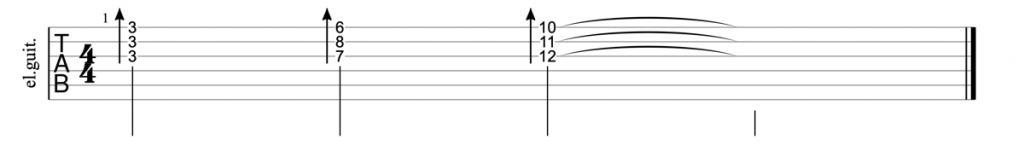 Minor triads strings 1, 2, 3 guitar tab