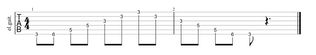 Guitar tab for CAGED E shape minor chord and arpeggio