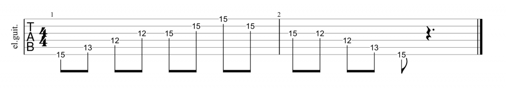 Guitar tab for minor G shape arpeggio
