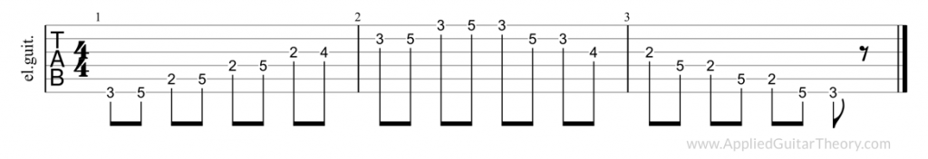Pentatonic major, first position tab