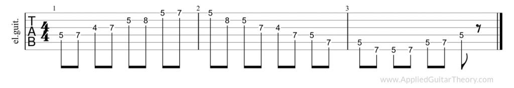 Pentatonic major, second position tab
