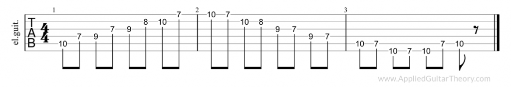 Pentatonic major, third position tab