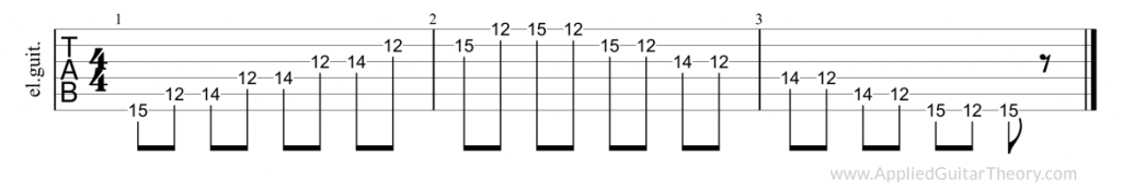 Pentatonic major, fifth position tab