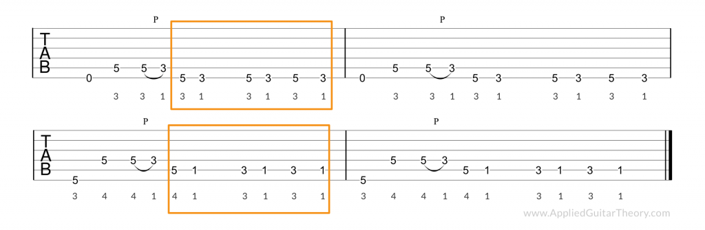 Moby Dick two note lick tab