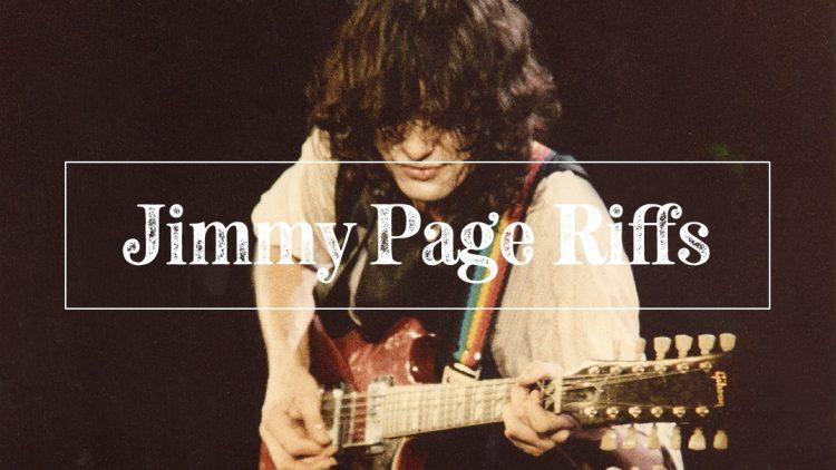 Jimmy Page riffs on guitar