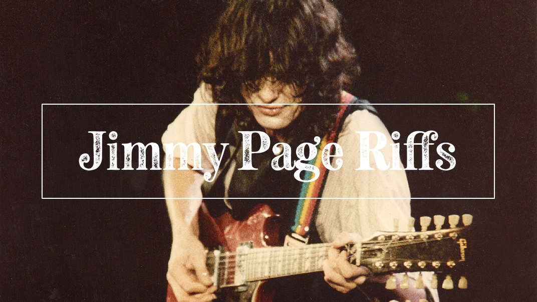 Jimmy Page riffs on guitar