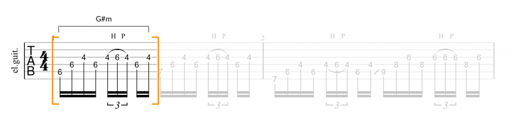 Guitar tab for Snow riff using G#m chord and triad