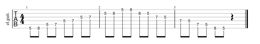 Guitar tab for position 1 of the A minor pentatonic scale