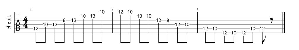 Position 3 guitar tab for A minor pentatonic
