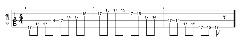 Guitar tab for position 5 of the A minor pentatonic scale