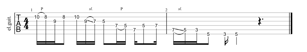 Guitar tab for A minor pentatonic scale extension lick.