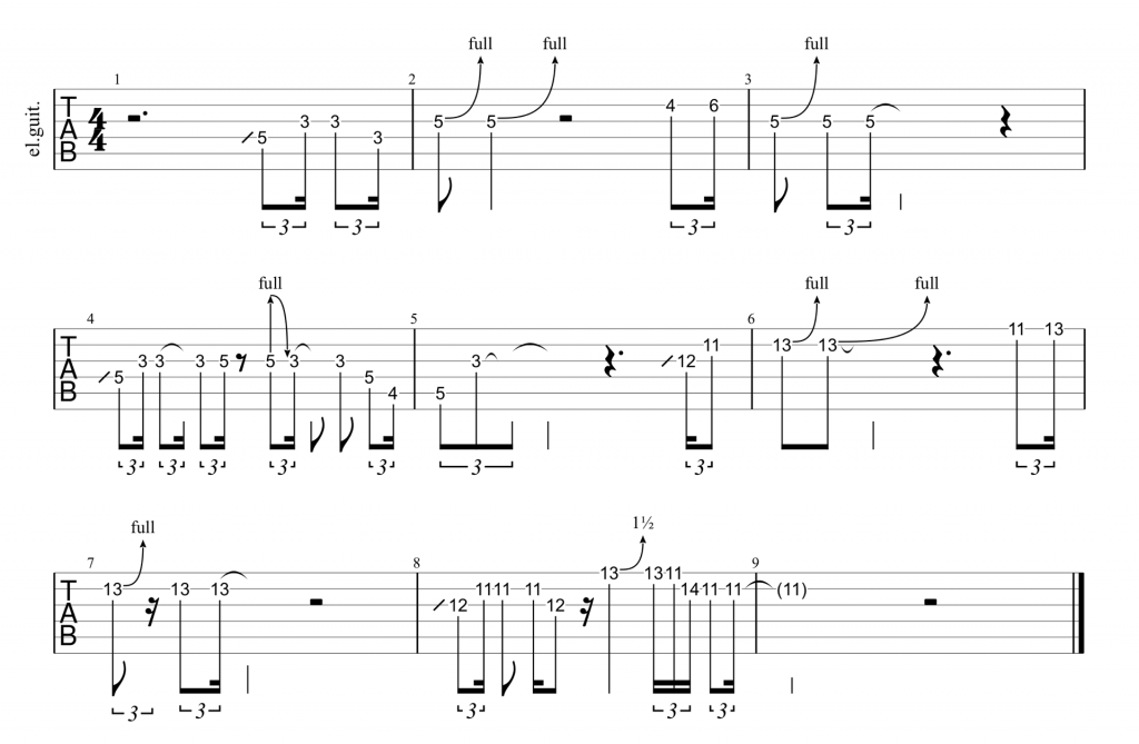 Full guitar tab for Soulshine intro solo by The Allman Brothers Band