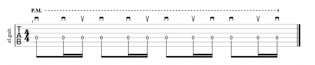Guitar tab showing picking technique for Pink Floyd, Run Like Hell