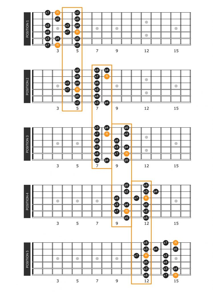 Fretboard diagram for the connected 5 major scale positions