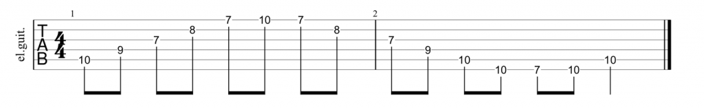 Guitar tab for C major arpeggio pattern