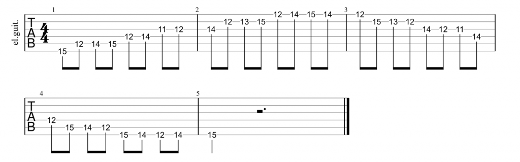Guitar tab for position 5 of the major scale