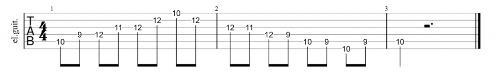Guitar tab for A shape major 7th arpeggio