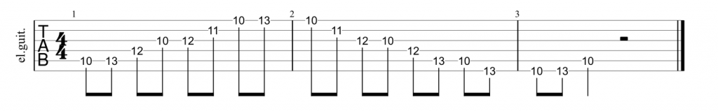 Guitar tab for A shape minor 7th arpeggio