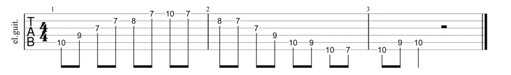 Guitar tab for C shape major 7th arpeggio