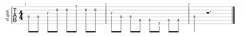 Guitar tab for D shape dominant 7th arpeggio