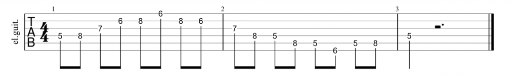 Guitar tab for D shape minor 7th arpeggio