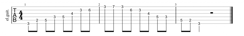 Guitar tab for E shape dominant 7th arpeggio