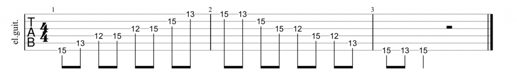 Guitar tab for G shape minor 7th arpeggio