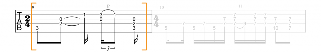 Guitar tab for C chord in Little Wing intro