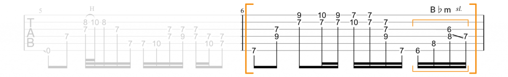 Guitar tab for Little Wing on the B minor chord