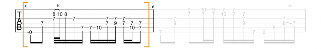 Guitar tab for E minor barre chord lick at the 7th fret