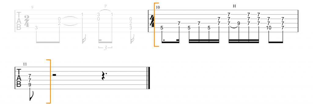 Guitar tab for D chord lick in Little Wing intro