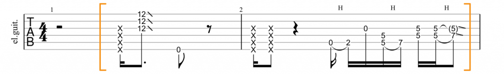 Guitar tab for Little Wing E minor lick