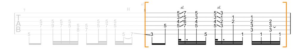Guitar tab for Little Wing add9 chord progression
