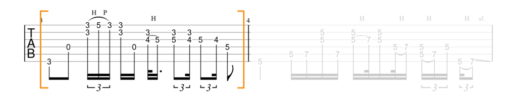 Guitar tab for lick over G major barre chord