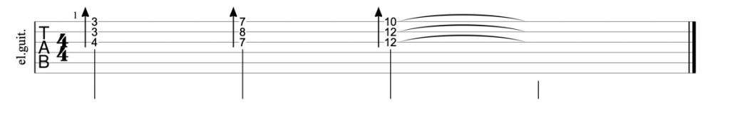 Guitar tab for major triads on strings 1, 2, 3
