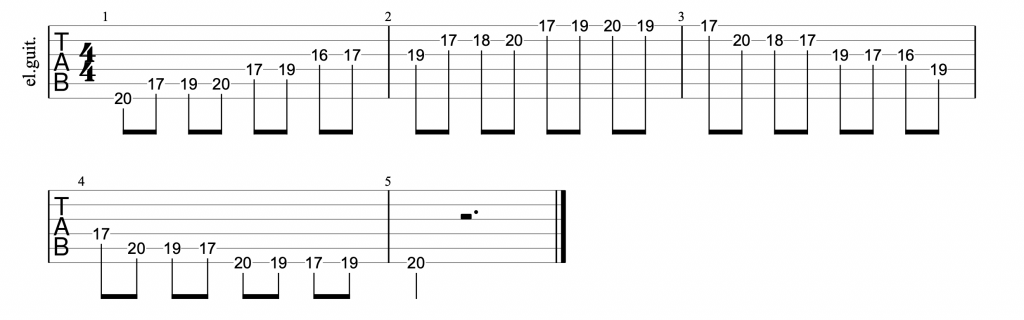 Guitar tab for position 5 of the c major scale