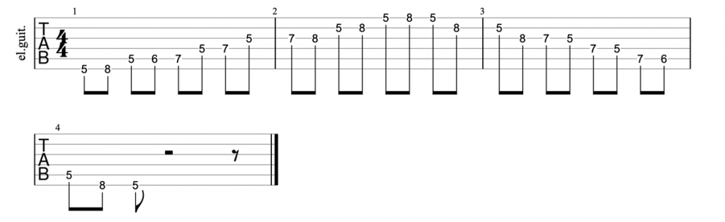 A minor blues scale position 1 tab