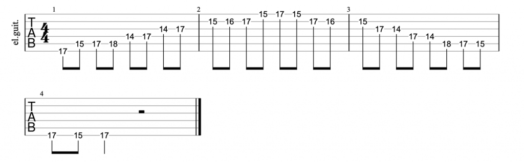 A minor blues scale position 5 tab