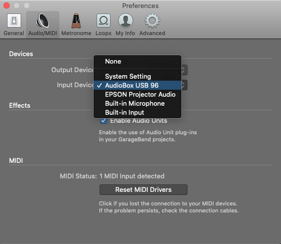 GarageBand audio input selection