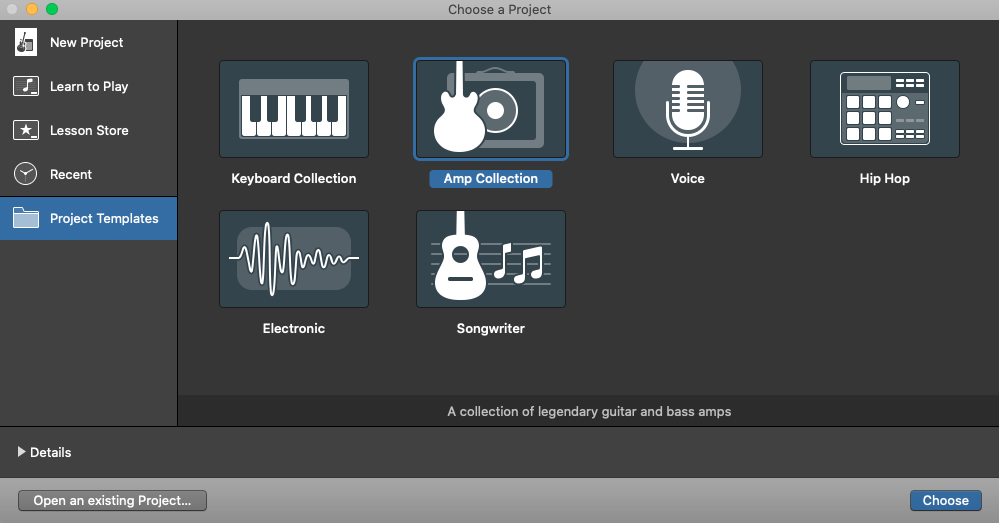 GarageBand Amp Collection project template