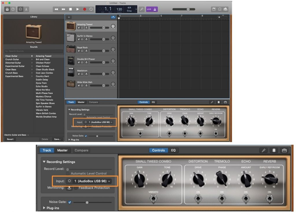 GarageBand track select audio interface