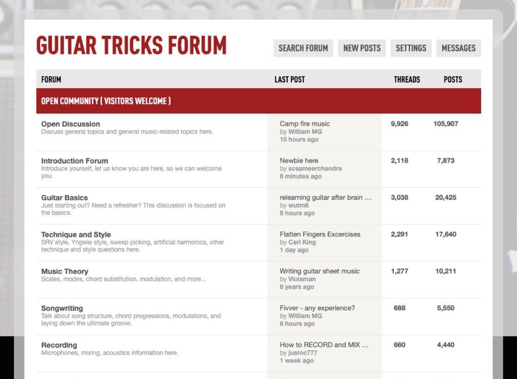Guitar Tricks member forum