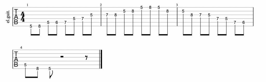 Minor blues scale tab