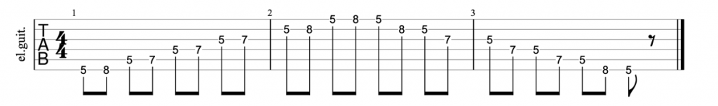 Minor pentatonic scale tab