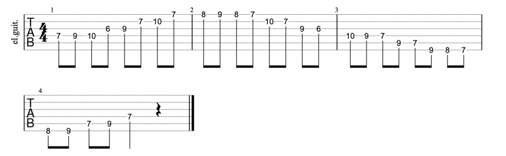 A major blues scale position 2 guitar tab