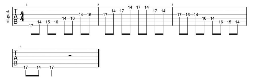 A major blues scale position 5 guitar tab