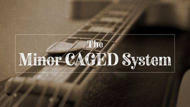 Minor CAGED system hero image of guitar