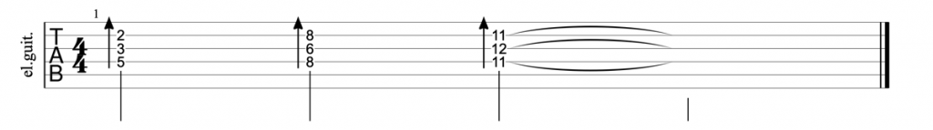 Guitar tab for diminished triads on strings 2,3 and 4