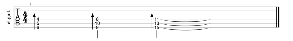 Guitar tab for diminished triads on strings 4, 5, and 6
